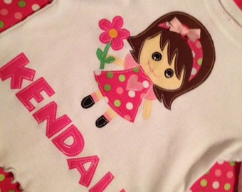 NEW.. Personalized Sweet Little Girl Applique Shirt 12m 18m 2T 3T 4T 5T 6 8 10