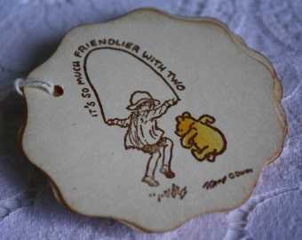 Winnie the Pooh Classic Gift Tag It's So Much Friendlier With Two Handmade Gift Tag