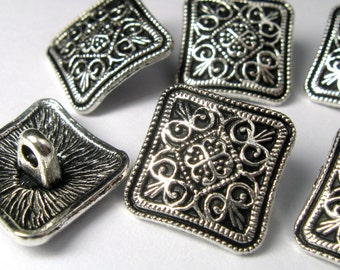 Square Pewter Buttons 13.5mm Antiqued Silver  - Lead Free - 6 Buttons