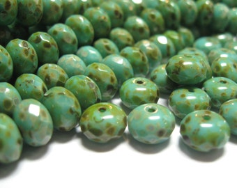 Turquoise Picasso Faceted Rondelle 9x6mm Czech Glass Beads (Qty 12)