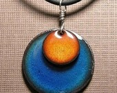 Orange and Blue Copper Enamel handmade necklace