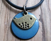 Bird Jewelry, Blue Bird Necklace, Enamel Jewelry, Enamel Necklace, Delft Blue Pendant, Cornflower,