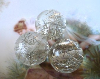 Treasury item ~ The Plastics! 3 Vintage Silver Tinsel Beads
