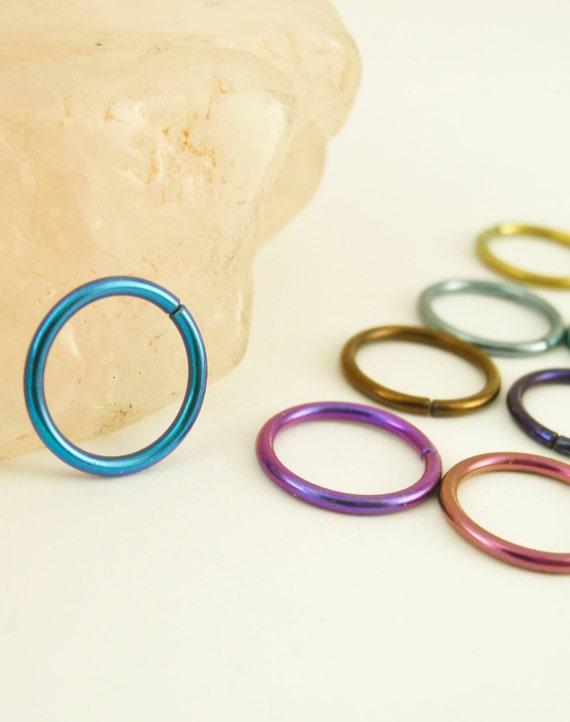 1 Hoop - Colorful Niobium Hypo Allergenic Earring Hoops - 18 gauge 8mm ID - YOU PICK Color