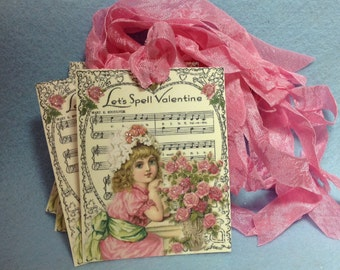 Set of 6 Shabby Cottage Pink Valentine Gift Tags / Cards Glittered To Perfection