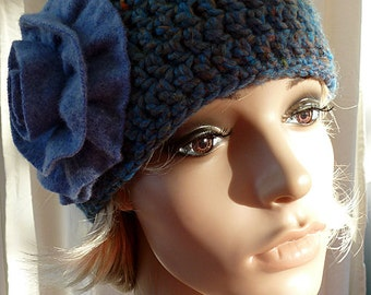 Blue Ombre Crocheted Hat, with Blue Felted Wool Flower