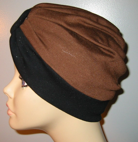 2-Tone Black and Brown  Knit Turban, Chemo Hat, Snood, Womens Hat