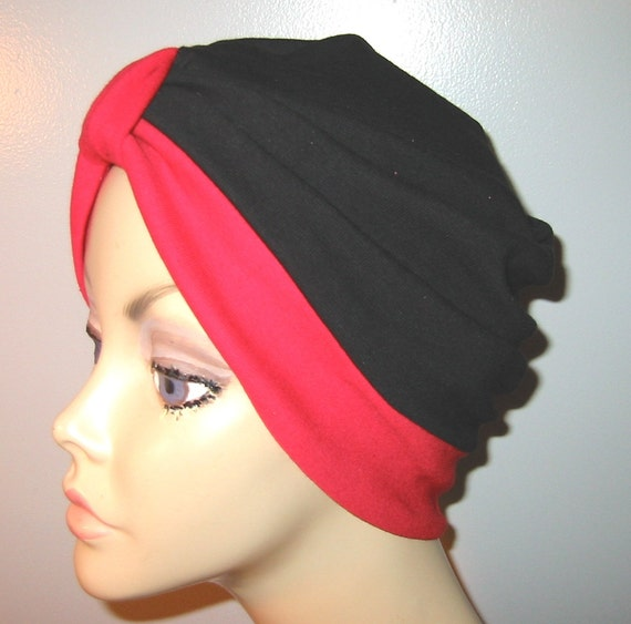 2-Tone Red and Black    Knit Turban, Chemo Hat, Snood, Womens Hat
