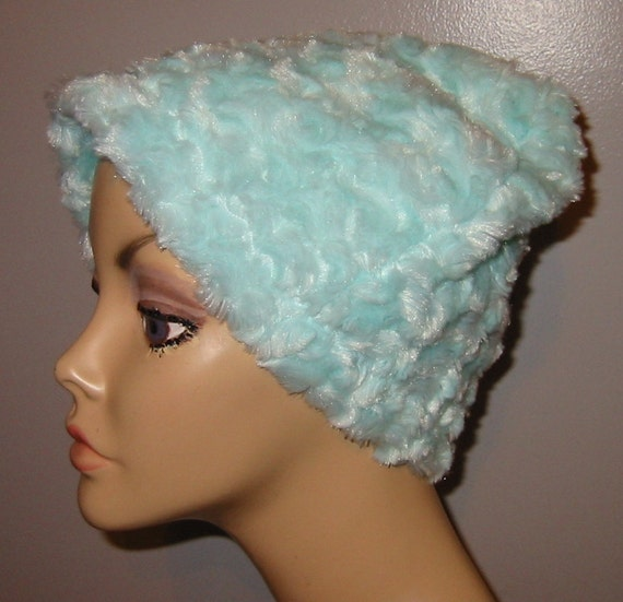 Cancer, Chemo Hat Light Turquoise  Furry  Comfort Hat, Alopecia, Turban
