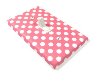 Pink and White Polka Dots Light Switch Cover Girls Nursery Decor Bedroom Lighting Switch Plate Cover