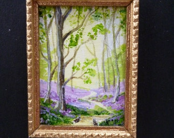 A Tiny one 24th scale Miniature Painting, Bunnies in the wood.With bluebells!