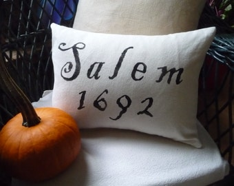 Olde Salem Village Cotton Pillow for Halloween or Primitive Display....Treasury Item