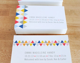 Business cards, tags, mini note cards with geometric pattern, 3 design assortment, CUSTOM, SET of 50