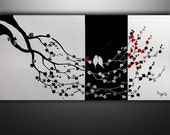 Abstract Painting, Birds Painting, Abstract Art, Tree Painting, Black White Painting Wall Art, Wall Decor, Art By Gabriela, Made To Order