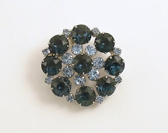 Vintage Brooch Blue Rhinestone Pin Mid Century Prong Set Costume Jewelry