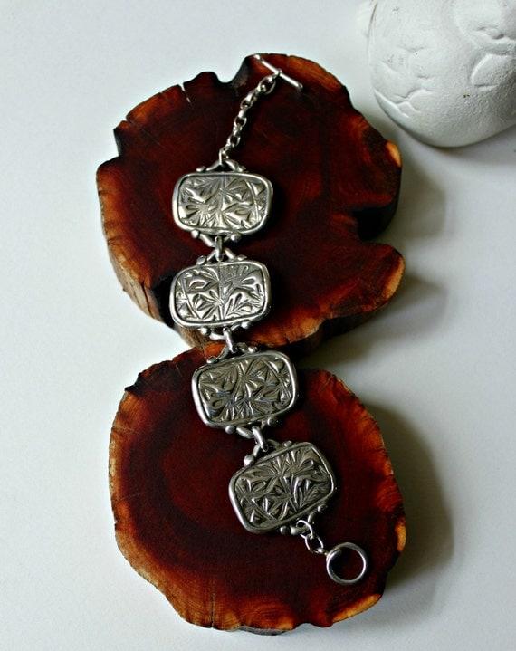 sage bracelet silver hand carved cuff wide