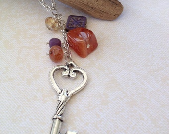 Key charm necklace, long necklace, bead cluster, silver, semi precious stones, czech glass beads, gifts for her