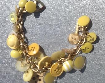 YELLOW vintage button bracelet assemblage bracelet