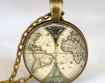 World travel map necklace, vintage world map  pendant, world map jewelry, keepsake map pendant