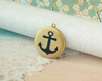 anchor round antique brass locket 32mm (LD075)