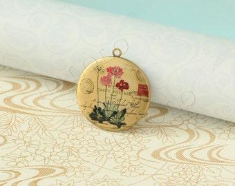 handmade flower round antique brass locket 32mm (LD078)