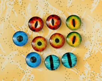 10 pcs assorted dragon's eyes cabochons / Wooden earring stud 12mm (12-0582)