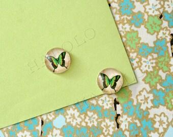 Sale - 10 pcs handmade green butterfly glass cabochons 12mm (12-0586)