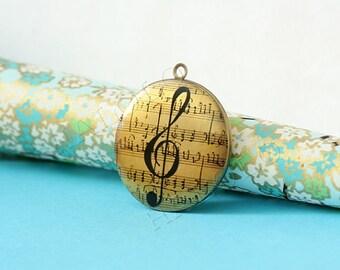 music round antique brass locket 32mm (LD100)