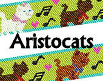 Disney Inspired Aristocats Peyote or Brick Stitch Beaded Bracelet Pattern Seed Beads Delica Beads