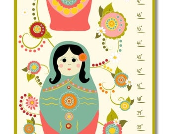 Children's Growth Chart - Nursery Art - Nesting Dolls Growth Chart