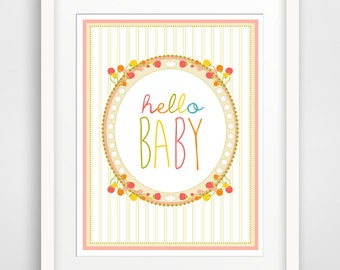 Children's Wall Art / Nursery Decor Hello Baby print by Finny and Zook