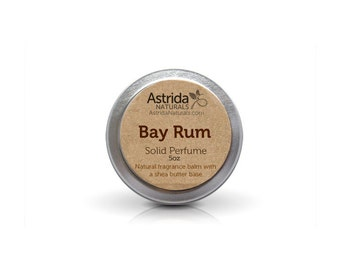 Bay Rum Solid Perfume Fragrance with Shea Butter, Great for Men