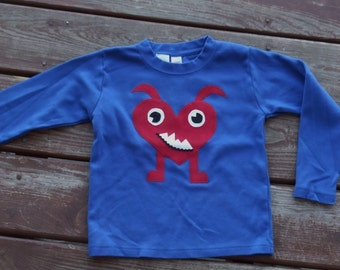 MONSTER LOVE  Boys Valentines Day Heart tee shirt  sizes  6-12-18-24 mth  2 -3 -4 -5 -6 -7-8 assorted colors