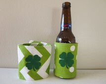 St. Patrick's Day Chevron Can Cozie, Beer Coozie, Shamrock Cozie