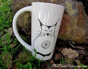 Ohm Kitty pottery mug cat lover latte coffee mug kiln fired custom mugs 16 ounce