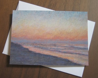 Beach scene note card with envelope