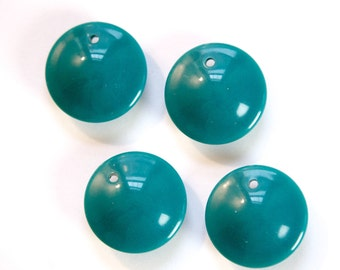 Vintage Puffy Teal Acrylic Circle Charms Drops (6) chr199A