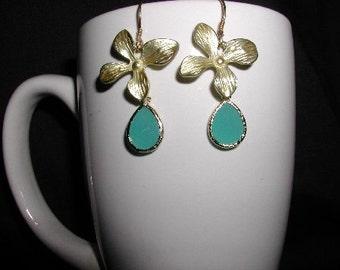 Sea Foam Glass Drop Earrings Dangle