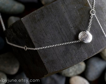 Single Pebble Necklace | Sterling Silver or 14k Gold