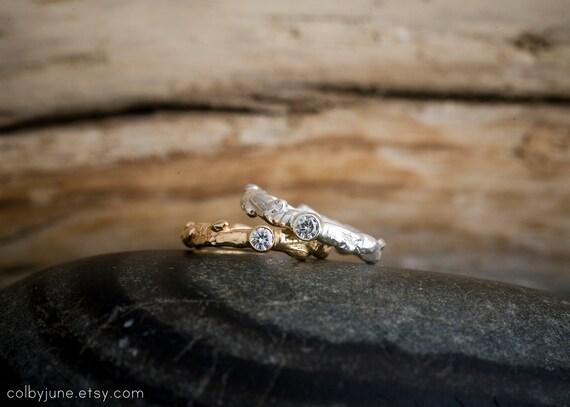 14k Gold Moissanite Branch Ring | Stacking Ring | Nature Inspired Ring