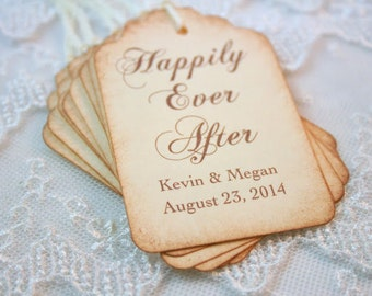 Happily Ever After Favor Tags Wedding Set of 10 Name and Date Personalized