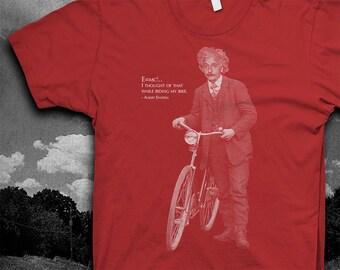 Albert Einstein Bike quote Tshirt Mens Softstyle color t-shirt
