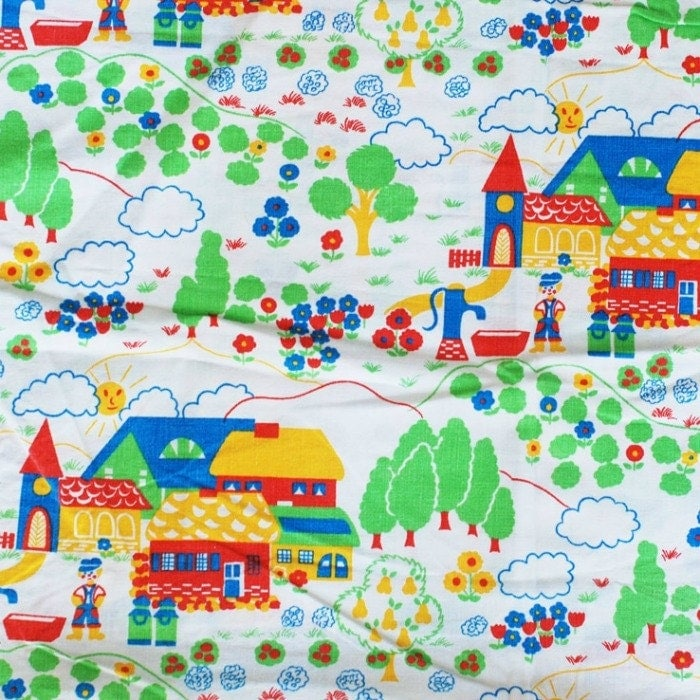 Seventies vintage childrens fabric 60x50 cm by frausvensson for Vintage childrens fabric