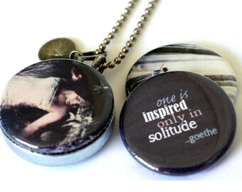Solitude Locket • Alone Time • Peaceful Vibes Jewelry • Goethe Solitude Quote • Fantasy Art Jewelry • 3  in 1 • Custom Stamped Initial Charm