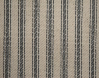 FLAWED Ticking Stripe Material | Striped Fabric | Vintage Inspired Ticking | Steel Gray | 42 x 44