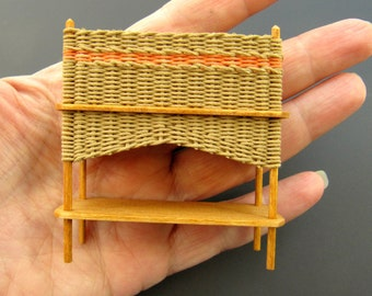 Dollhouse Miniature Natural Wicker Planter with Peachy-Orange Banding One Inch Scale