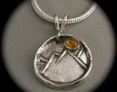 Sunny Day in the Mountains Pendant - Citrine - small medalion
