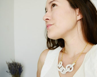 Porcelain Harbor Necklace - Dock Chains - Harbor Jewelry - Chain Necklace -  white minimalist