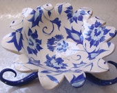 Original one of a kind, blue delft floral Ceramic Serving Bowl on curly legs, polkadots and whimsy :)