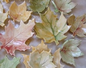 Autumn Leaves - Fall Leaf ceramic dish -- set of 5 -- Thanksgiving table centerpiece Hostess gift